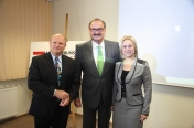 With Marek Kaliszek, the chancellor of Torun BCC Lodge, and Jolanta Kalinowska, the president of Vinpol, before the meeting of the BCC Lodge in Torun, December 2013